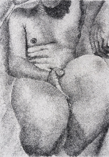 Frances Goodman   Figure Study IV   2020   False Eyelashes, Methyl Cellulose, Fabriano Paper   100 x 71 cm