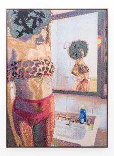 Frances Goodman | Mirror Image | 2019 | Hand-Stitched Sequins on Canvas | 160 x 115 cm