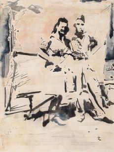 Uwe Wittwer | Doppelportrait (Double Portrait) | 2009 | Aquarell on Paper | 76 x 56 cm
