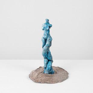 Marlene Steyn | Koeksister Sisters (blue venus) | 2017 | Oil Paint on Ceramic | 24 x 13 x 14 cm