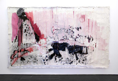 Gareth Nyandoro | Chilling in the black jack | 2016 | Ink on Paper Mounted on Canvas | 185 x 352 cm