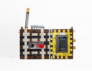 Cyrus Kabiru | Checked | 2020 | Steel and Found Objects | 42 x 47 x 5 cm