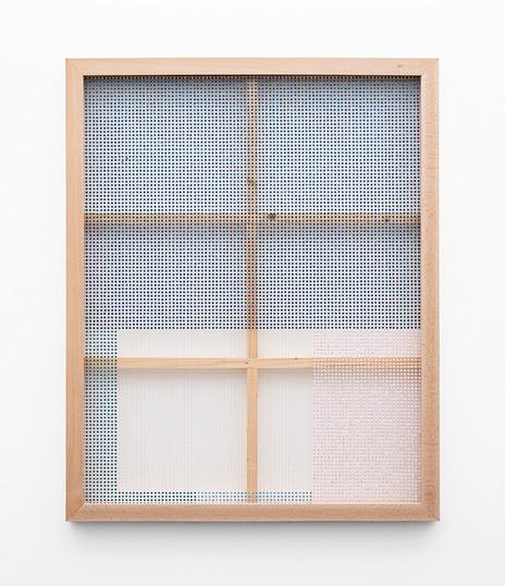 """Bonolo Kavula   """"Lebitso lebe seromo""""   2021   Punched Shweshwe, Acrylic, Thread   129 x 103 cm"""