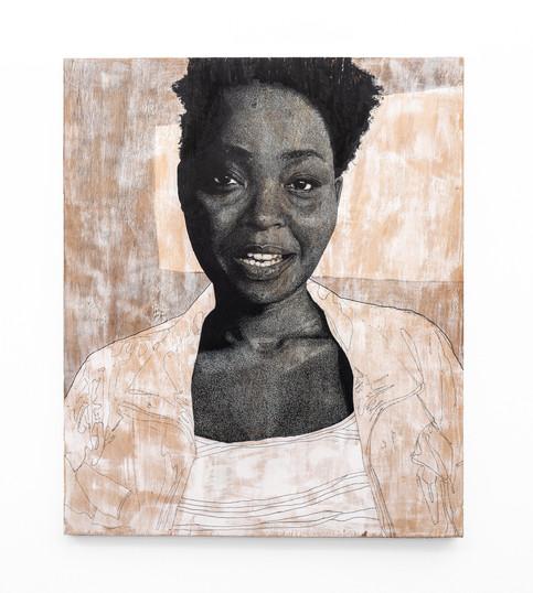 """Luyanda Zindela   """"Cha. Qedela lokhu obufuna ukusho.""""   2020   Acrylic Paint Marker & Graphite on Pine Board   120 x 100 cm"""
