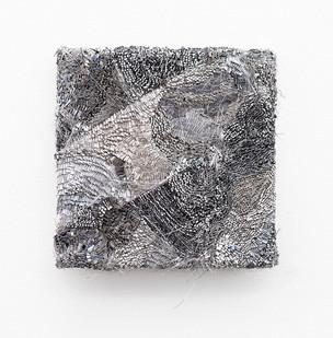 Galia Gluckman | the shift (2) | 2020 | Construction with Canvas, Textured Paper, Acrylic, Angel Hair, Balsa Wood, Bonding Tape on Board | 26 x 26 cm