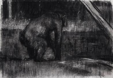 Johann Louw | Simiaan | 2017 | Charcoal on Hahnemühle | 127 x 180 cm