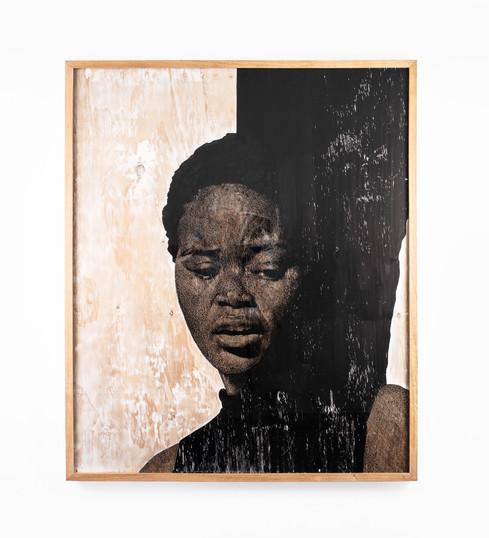 """Luyanda Zindela   """"Ngicela ungangiqubuli""""   2020   Acrylic Paint Marker & Graphite on Pine Board   120 x 100 cm"""