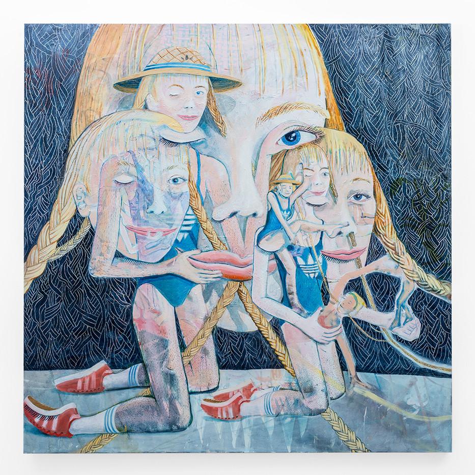 Marlene Steyn   the synchronized eye twitch hers   2018   Oil on Canvas   200 x 200 cm