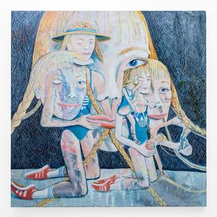 Marlene Steyn | the synchronized eye twitch hers | 2018 | Oil on Canvas | 200 x 200 cm