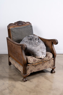 Johann Louw   Huisraad 3   Paper Pulp, Plaster of Paris, Black Pigment and Charcoal, Found Chair   85 x 65 x 81 cm