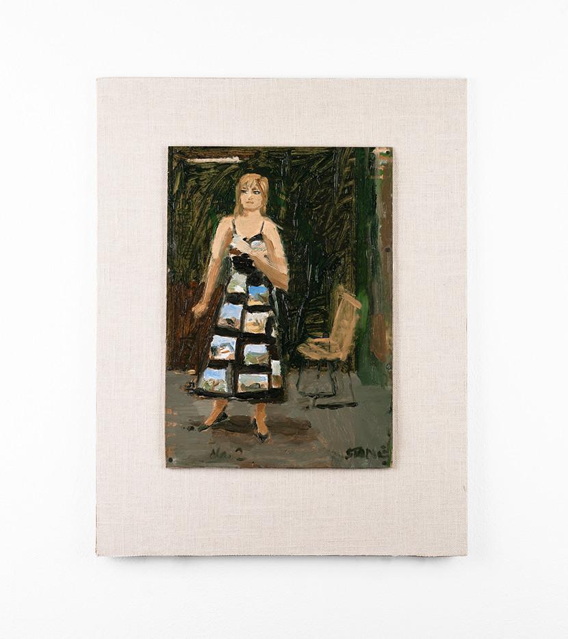 Simon Stone | Landscape Dress | 2020 | Oil on Cardboard | 30 x 21 cm
