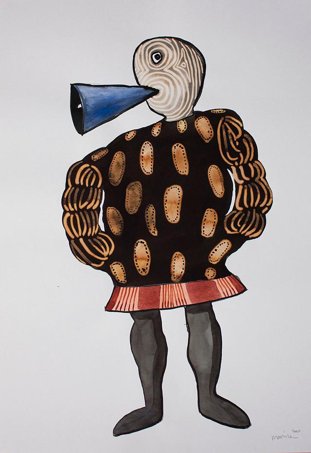 Colbert Mashile   Leloko X   2014   Watercolour and Bleach on Paper   63 x 45 cm
