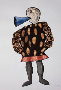 Colbert Mashile | Leloko X | 2014 | Watercolour and Bleach on Paper | 63 x 45 cm