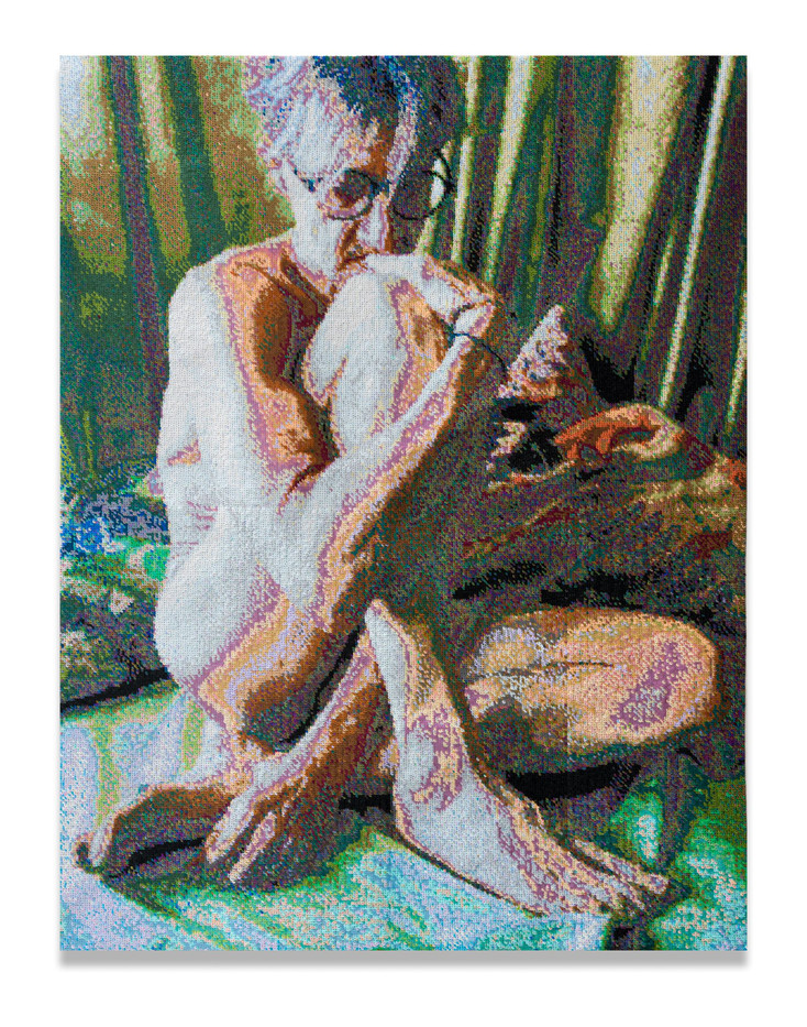 Frances Goodman | Thinker | 2020 | Hand-Stitched Sequins on Canvas | 119.5 x 91.5 x 7 cm