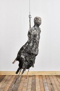 Johann Louw   Untitled   2019   Paper Pulp, Plaster of Paris, Black Pigment, Charcoal and Steel Rods   193 x 60 x 43 cm