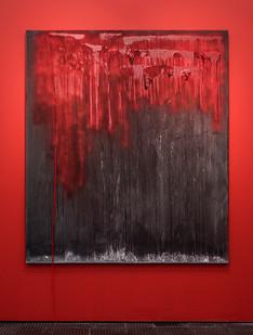 Lhola Amira | Umlibo II | 2018 | Salt, Spray Paint, Glue, Salt Water on Stretched Fabric | 200 x 175 cm