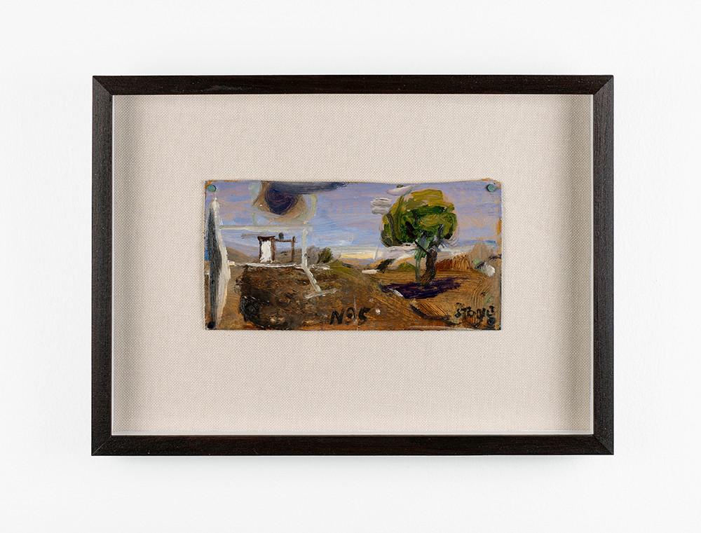 Simon Stone | Landscape with Tree | 2020 | Oil on Cardboard | 12 x 22 cm