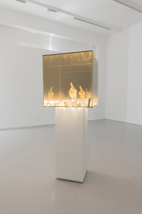 Ashley Walters | Parallel | 2019 | Two Way Mirror, LED Lights, Plaster | 50 x 50 x 50 cm