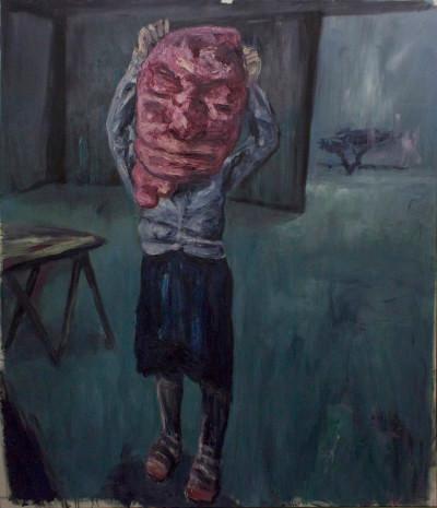 Johann Louw | Groot Meisie met Masker | 2015 | Oil on Canvas | 240 x 197 cm