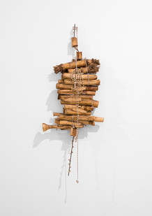 Sandile Zulu | Untitled | 2017 | Wire, Maize Stems, Newspaper and Beads | 57 x 32 cm