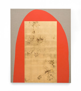 Pierre Vermeulen | Hair orchid sweat print, vermilion form with mirror | 2019 | Sweat, Gold Leaf Imitate, Shellac and Acrylic on Belgian Linen | 162 x 132 cm