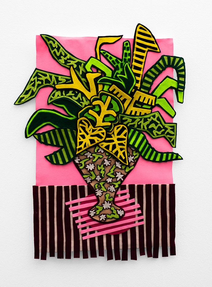 Jody Paulsen | Stripey Pink Arrangement | 2020 | Felt Collage | 79 x 59 cm