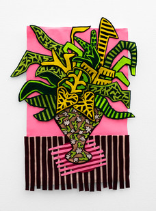 Jody Paulsen | Stripey Pink Arrangement | 2020 | Felt Collage | 79 x 59 cm