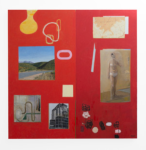 Simon Stone | Red Painting with Map | 2017 | Oil on Canvas | 190 x 190 cm