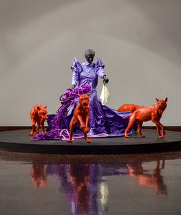 Mary Sibande | Cry Havoc | 2014 | Fibreglass, Resin, Fabric and Steel | 190 x 500 x 500 cm