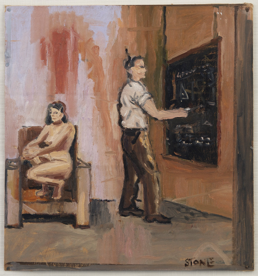 Simon Stone | Nude in the Chair | 2014 | Oil on Cardboard | 31 x 29 cm