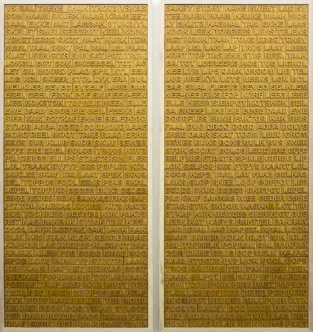 Willem Boshoff   Overgeset Synde: Afrikaans/Afrikaans (Diptych)   2015   Wood   219 x 106 Each