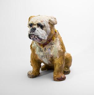 Georgina Gratrix | Winston the Bulldog | 2016 | Oil on Ceramic | 24.5 cm