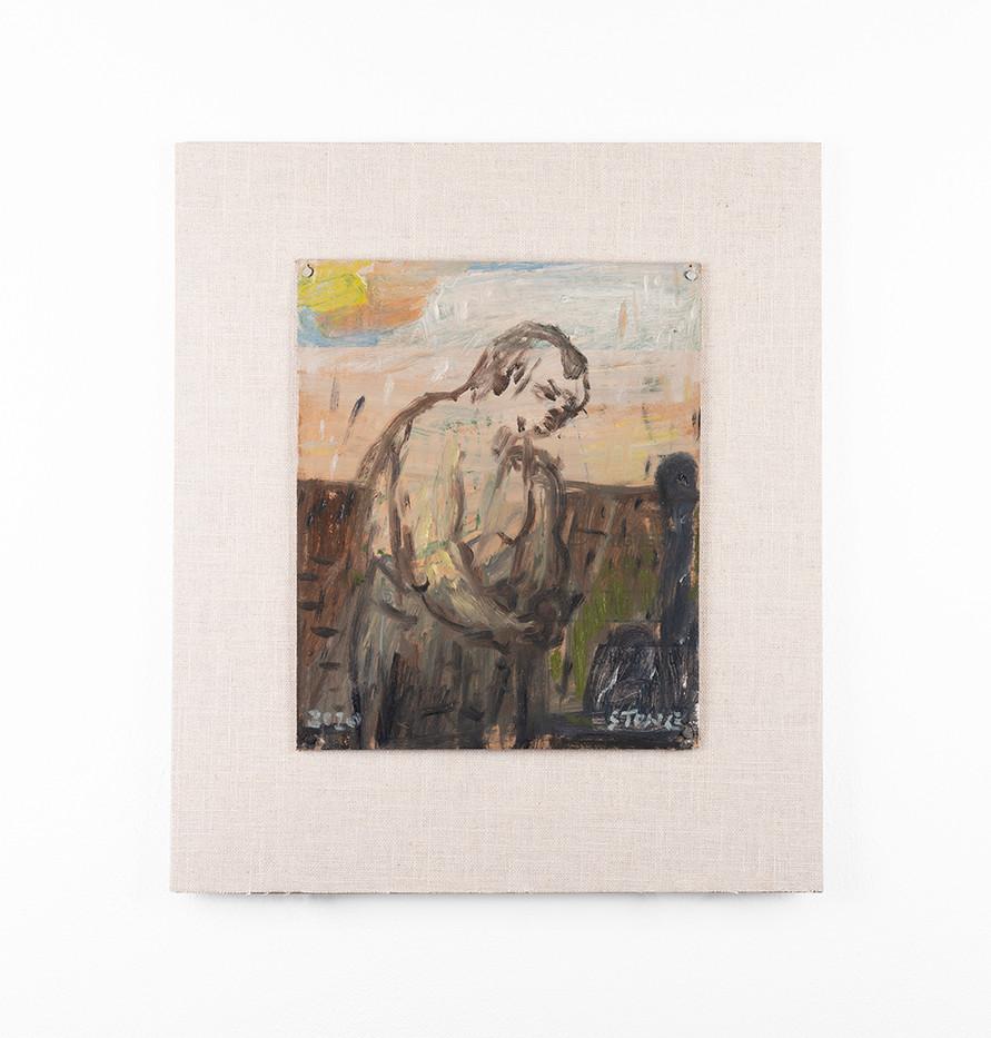 Simon Stone | Man Washing His Hands | 2020 | Oil on Cardboard | 27 x 23 cm
