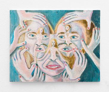 Marlene Steyn | Conceived through a scalp massage | 2018 | Oil on Canvas | 23 x 30.5 cm