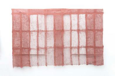 Pyda Nyariri   Residual Trace 338 / Red   2021   Clay Slip, Cotton Gauze on Canvas   105 x 170 cm