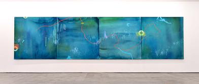 Mongezi Ncaphayi | Maiden Voyage I - IV | 2017 | Indian Ink and Mixed Media Collage on Canvas | 200 x 200 cm Each