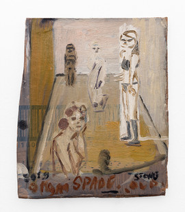 Simon Stone | Hallway | 2019 | Oil on Cardboard | 21.5 x 18 cm