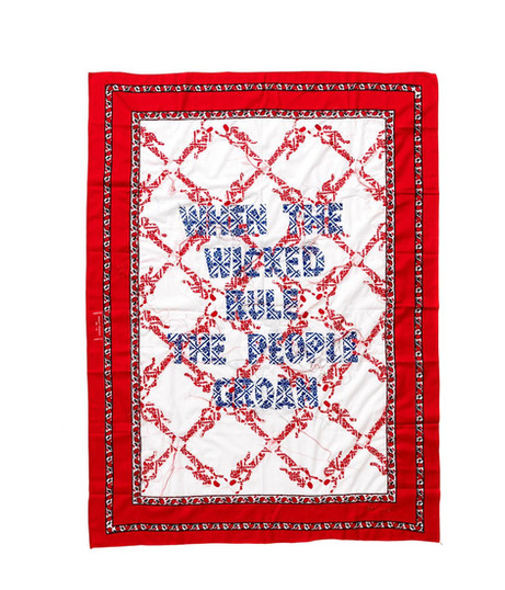 Lawrence Lemaoana | When the Wicked Rule the People Groan | 2018 | Embroidery on Textile | 155 x 115 cm | Copyright the artist, Courtesy AFRONOVA GALLERY