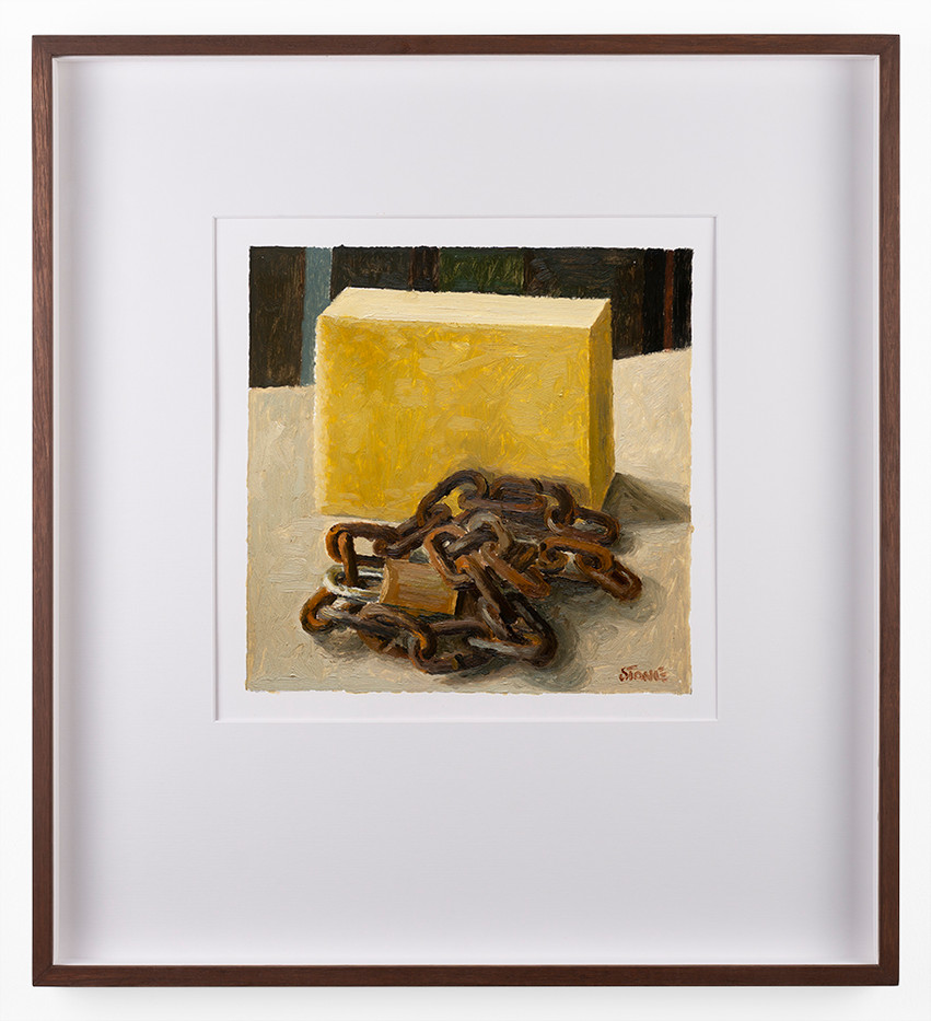 Simon Stone | Sponge and Chain | 2018 | Oil on Paper | 26 x 26 cm