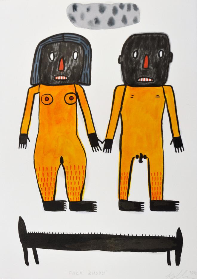 Karlien De Villiers | Fuck Buddy | 2014 | Ink and Watercolour on Paper | 38.5 x 29 cm