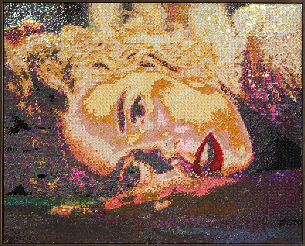 Frances Goodman | Floored | 2018 | Hand-Stitched Sequins on Linen | 75 x 94.5 cm