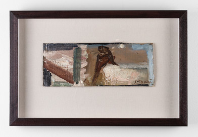 Simon Stone | Figure next to Bed | 2017 | Oil on Cardboard | 11 x 28 cm