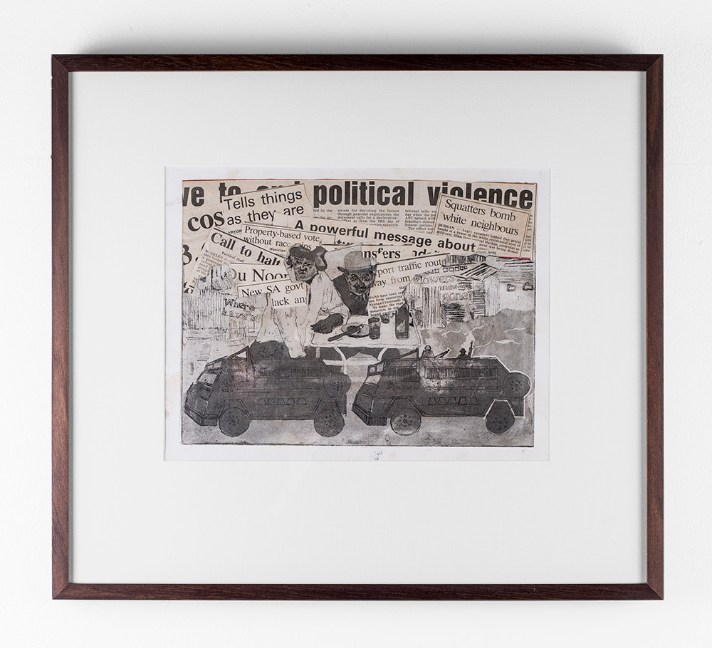 Lionel Davis | Political Violence | 1994 | Etching and Collage on Paper | 22.3 x 29.8 cm