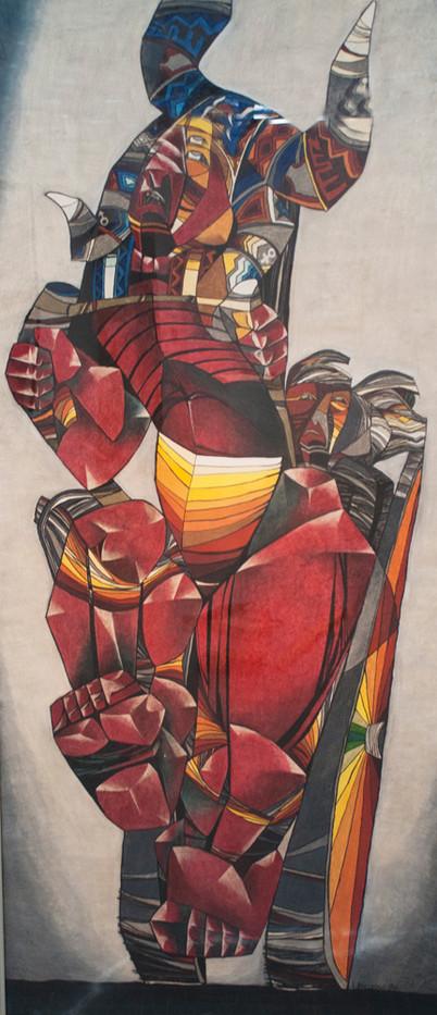 Leonard Matsoso | Rikcha | 1980 | Crayon on Paper | 178 x 82 cm