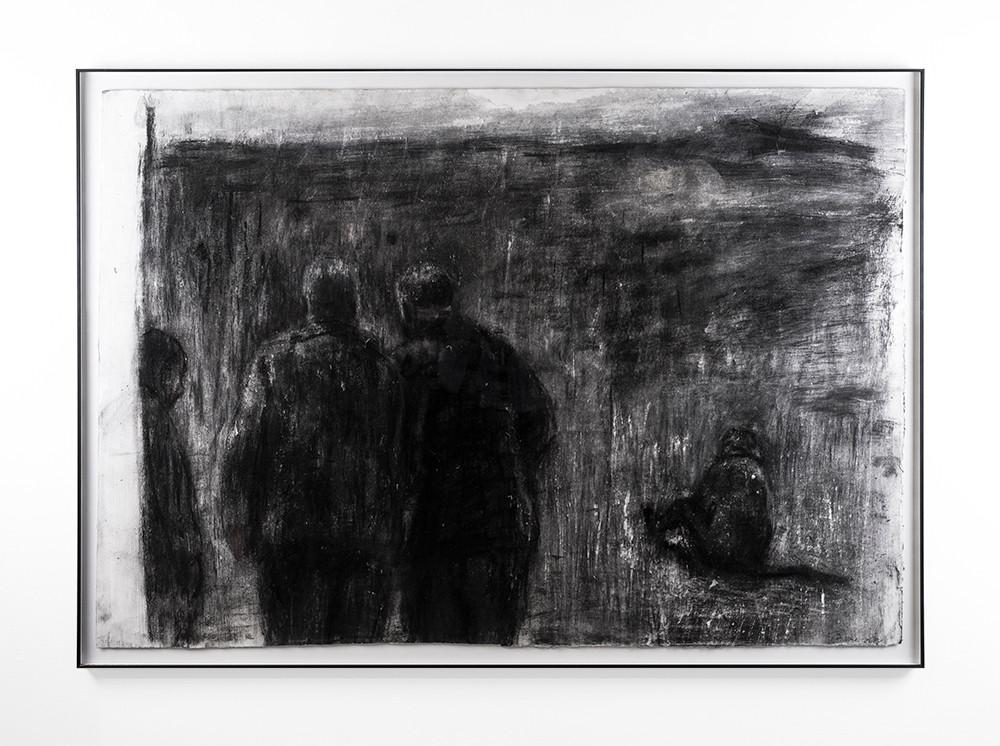 Johann Louw   Mans op stap   2018   Charcoal and Gouache on Paper   86 x 124 cm