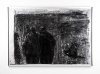 Johann Louw | Mans op stap | 2018 | Charcoal and Gouache on Paper | 86 x 124 cm