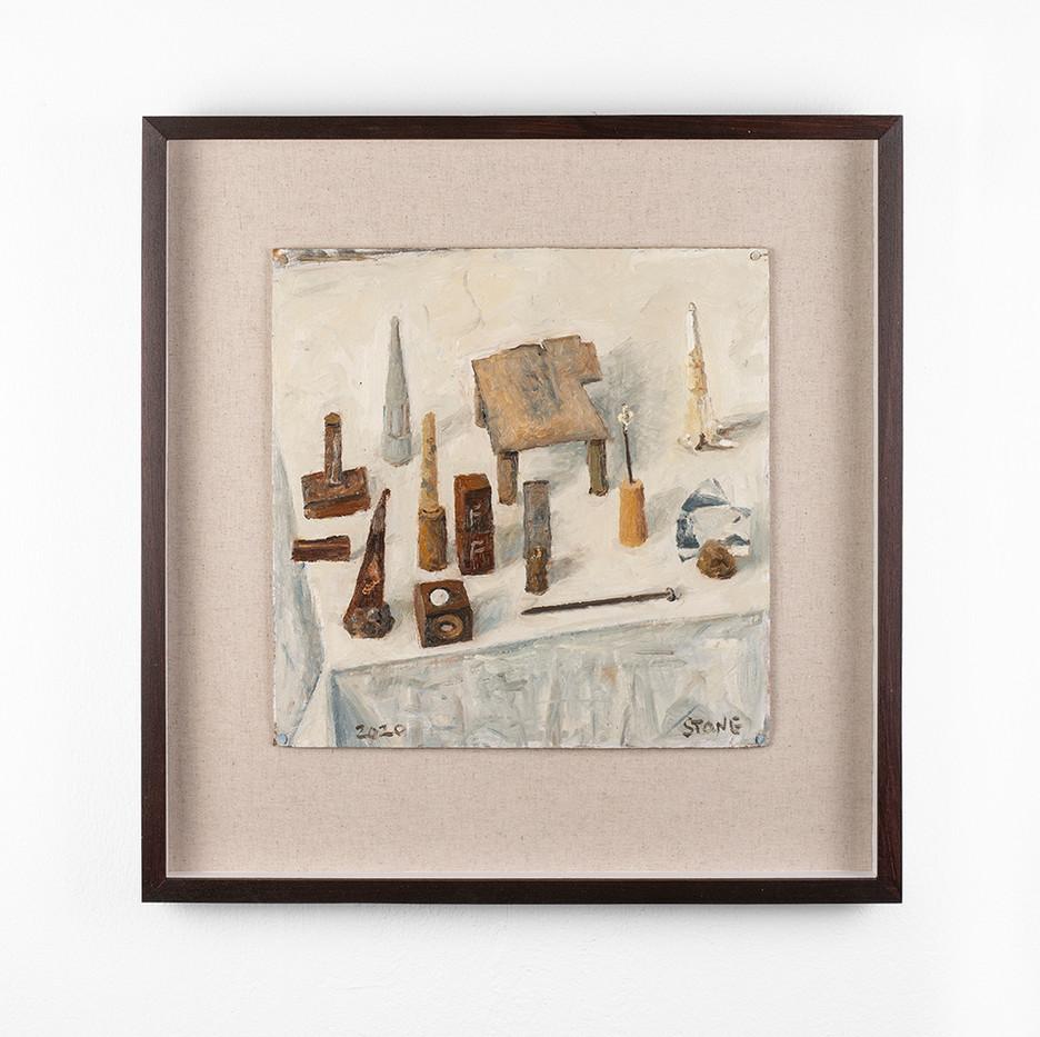 Simon Stone | Still Life with Nail + Tin Foil | 2020 | Oil on Cardboard | 31 x 31 cm