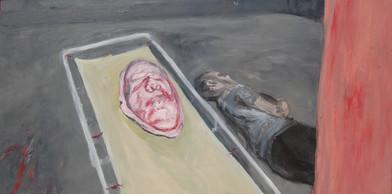 Johann Louw | Lang Skildery met Pienk Masker en Lêende Figuur | 2012 | Oil on Plywood | 122 x 244 cm