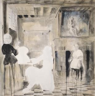 Uwe Wittwer | Interior Nach De Hooch (Interior After De Hooch) | 2012 | Watercolour on Paper | 127 x 111.5 cm