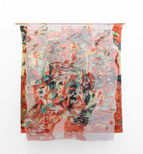 Jeanne Gaigher | Conditions of the day I | 2019 | Canvas, Bookbinding Cloth, Thread, Acrylic, Ink, Dye | 142 x 138 cm